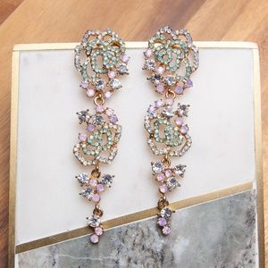 Dangling Crystal Earrings | Multi-color Rose